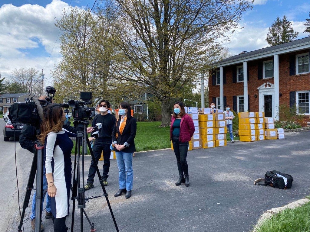 Dr. Jing Lei gives interview to NewsChannel 9, a local Syracuse television station, about a large donation of personal protective equipment (PPE) to local hospitals and various local communities by the Syracuse Chinese Community