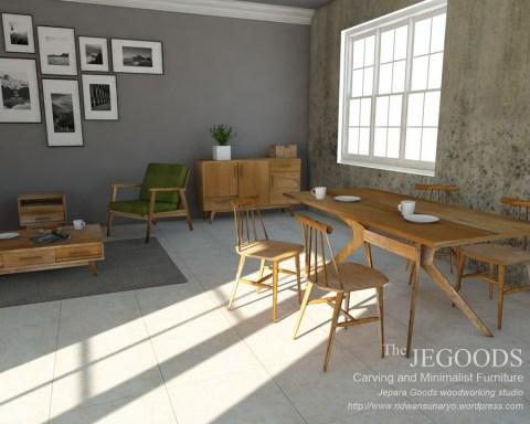 Konsep Gambar Mebel Retro Minimalis Modern Diningroom 3d