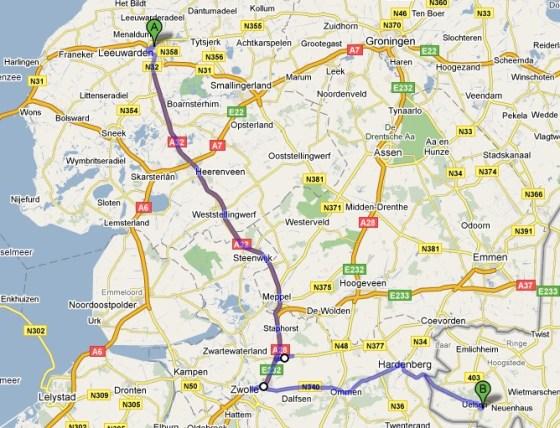 Van Leeuwarden in Nederland naar Uelsen in Duitsland liften