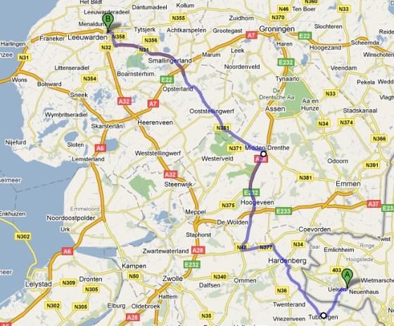 Van Uelsen in Duitsland naar Leeuwarden in Nederland liften
