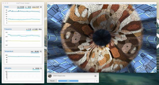 Macbook Pro 13 inch running Final cut pro export. Permute HEVC encoding and furmark