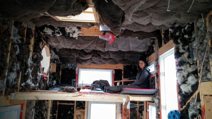 tiny house loft insulated with seep wool