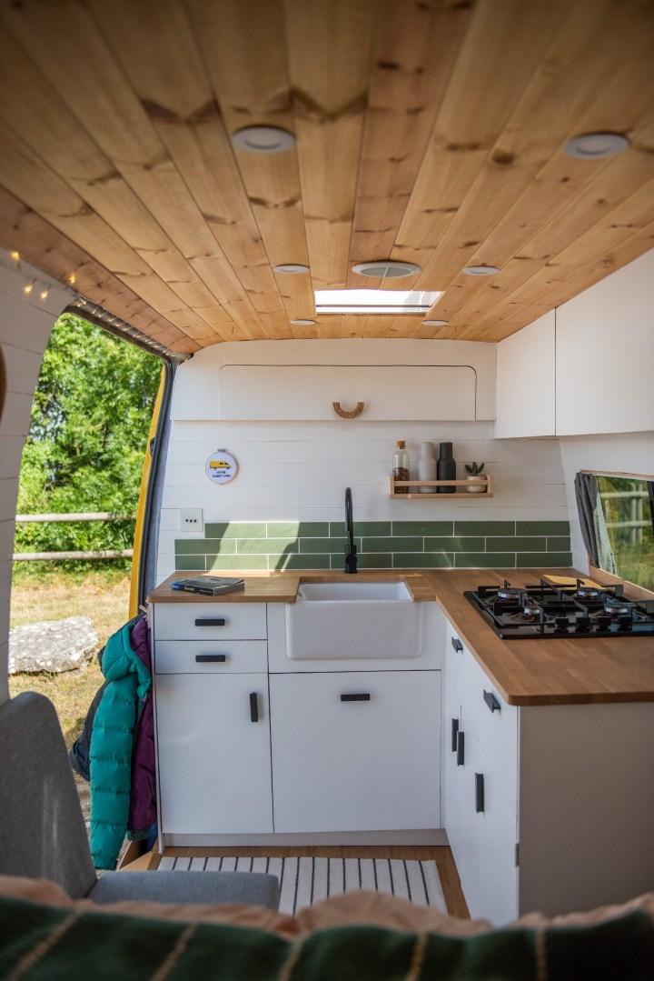 DIY kitchen in sprinter van