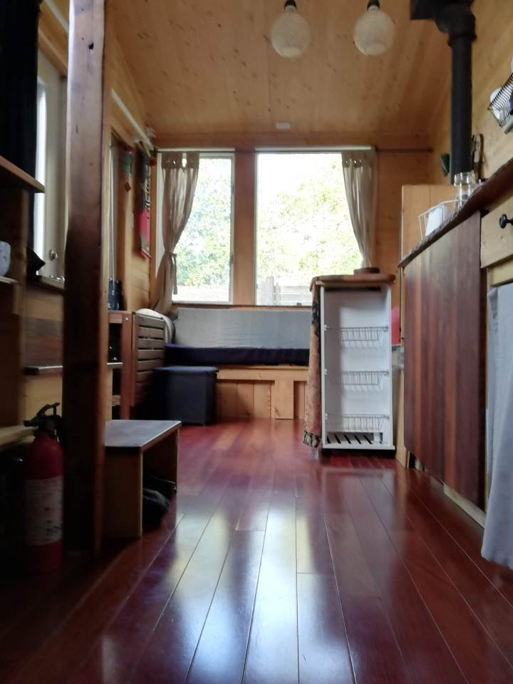 Tiny house with natural wooden floor