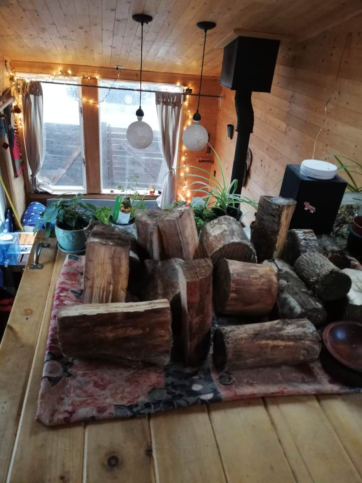 drying wood in tiny house