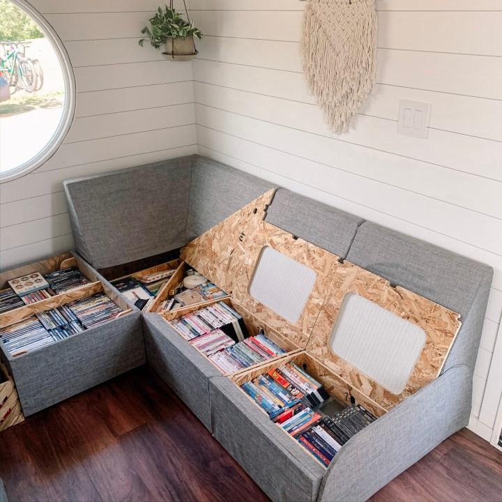 sofa storage tiny house