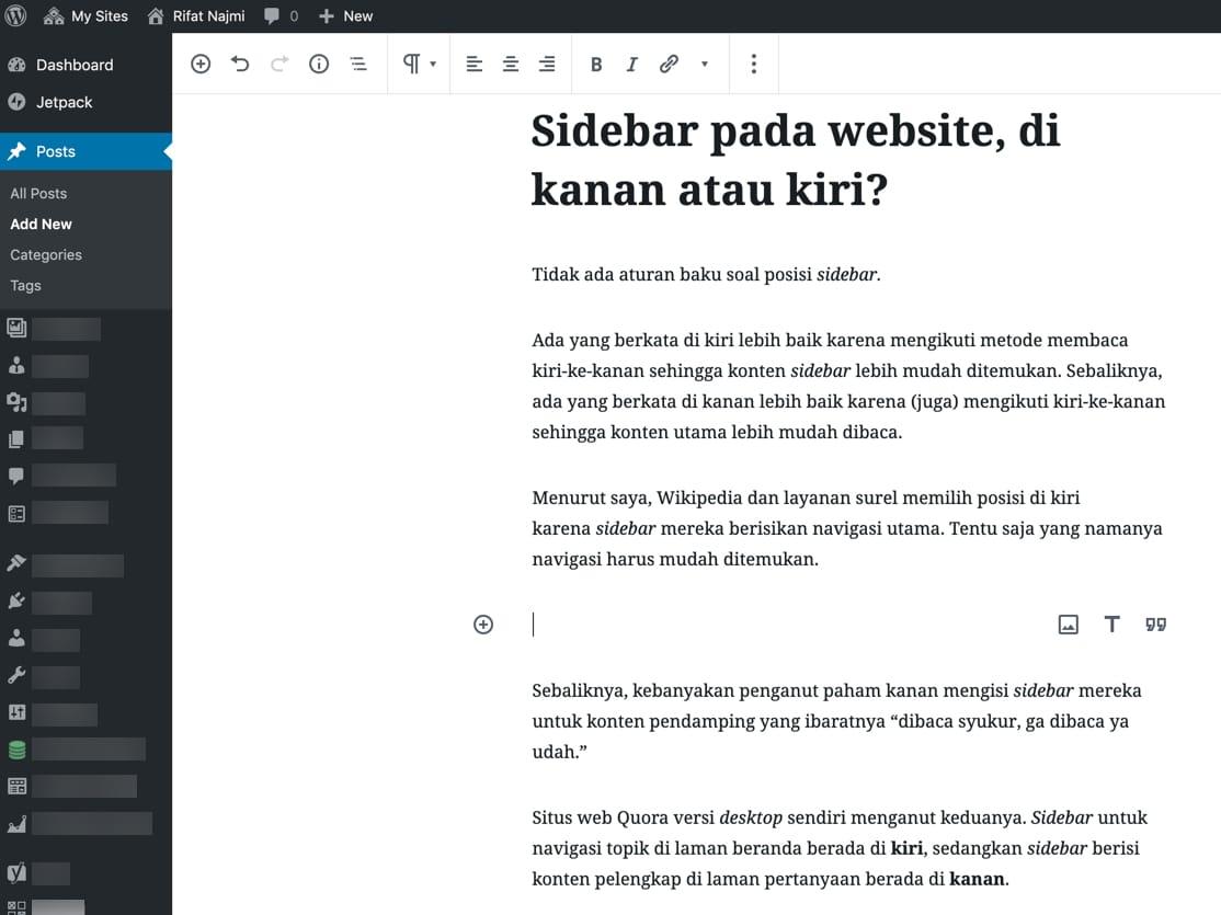 Tangkapan layar dari dashboard WordPress