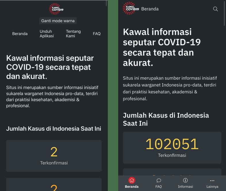 KawalCOVID19 website: Old vs New