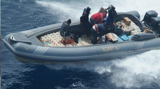 البحرية الملكية تجهض محاولة لتهريب المخدرات بعرض المتوسط