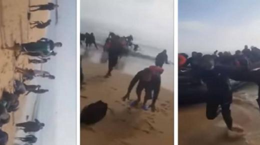 """فيديو جديد.. """"حراكة"""" مغاربة يسجدون حمدا لله بعد وصولهم إلى الأراضي الإسبانية"""