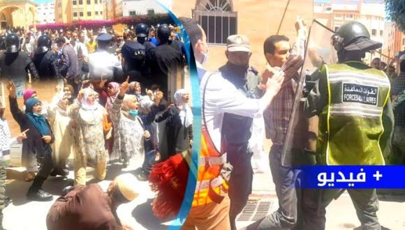 شاهدوا.. مصلون يحتجون بالناظور تضامنا مع الشعب الفلسطيني والأمن يتدخل بالقوة