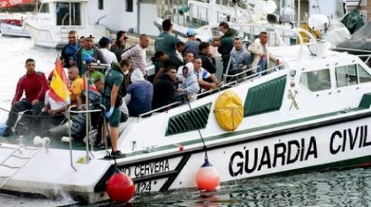البحرية الاسبانية تعترض قاربا ترفيهيا على متنه 20 مغربيا