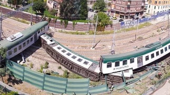 نجاة مغربي من موت محقق إثر انحراف قطار بدون سائق (فيديو)