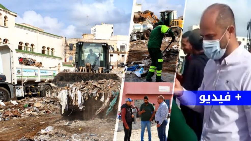 """رئيس جماعة الناظور """"سليمان ازواغ"""" يطبق شعار """"هبط تخدم"""".. عملية تنظيف واسعة للبؤر السوداء وسط المدينة (فيديو وصور)"""