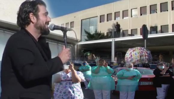 شاهد: الفنان العالمي أنطونيو أوروزكو بمليلية و من فوق سطح مستشفى كوماركال يفاجئ الأطباء