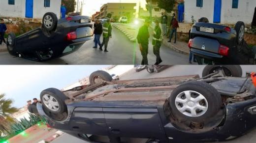 بالصور.. انقلاب سيارة للكراء على مستوى الطريق الرابطة بين فرخانة وبني انصار