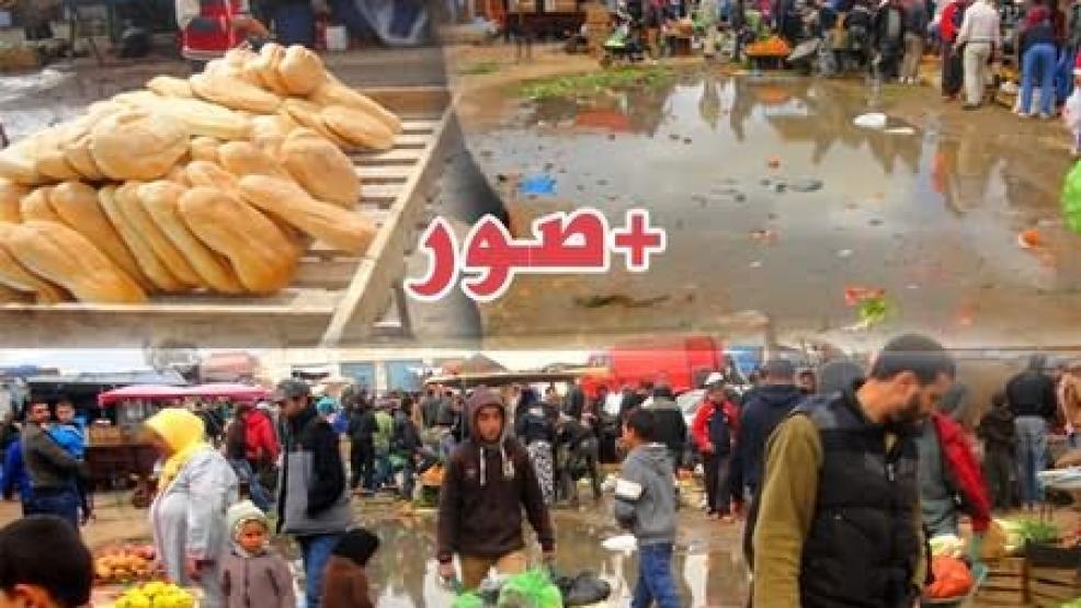 """كارثة بالصور: السوق الأسبوعي لبني شيكر يغرق وسط بحيرة من مياه الواد الحار """"بوخرارو"""""""