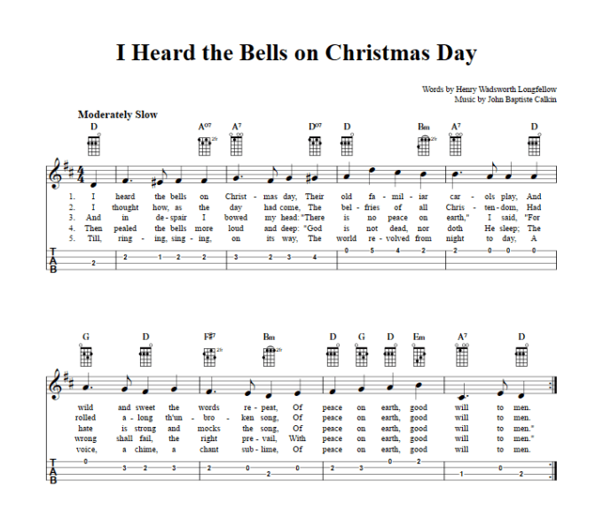 i heard the bells on christmas day chords sheet music and tab for