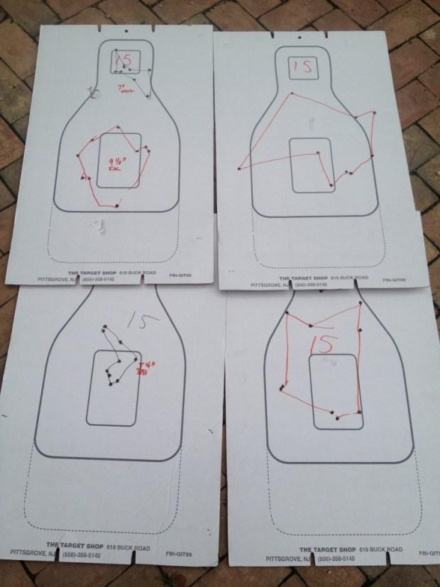 """15 yards: (Clockwise from bottom left) Back bored, Rem Cylinder, Vang Comp, Back Bored 2"""" from muzzle, Rem Improved Cylinder"""