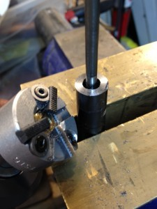 We use the Manson crowning tool to recrown the barrel. The Manson tool's carbide cutter will cut through the chrome lining of the barrel. First, the 90 degree cutter is used, followed by the 11 degree.