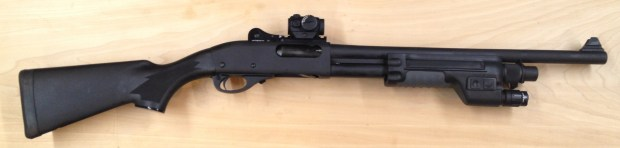 Our custom 870 defensive shotgun is ready for the range.