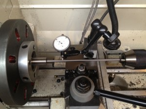 "The bore is dialed in using a ground rod with bushing. The bore is dialed in with a .001"" dial indicator, followed by a .0001"" indicator."