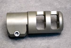 Side view, note the two large ports and pinch screw to secure and index the brake.