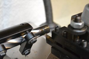 A 35 degree high-speed steel profile tool is used to square the rear of the bolt faces.