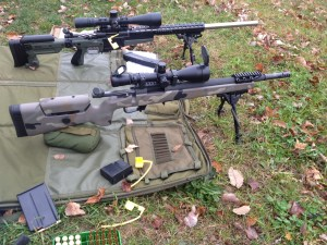 A view of the our rifle on the firing line.  The front rifle is the 308 we were testing.