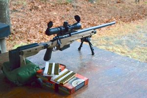 """Remington 700 in 300 Winchester Magnum on the firing line. This is the 24.25"""" barrel I started with."""