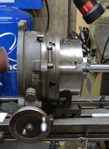 """I am using a 10"""" rotary table equipped with a 3-jaw chuck to index the barrel."""
