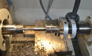 I secure the reamer in a GTR Tooling fixed reamer holder.  A reamer stop is attached to the reamer.
