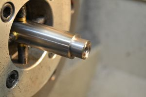 """I used a right hand high-speed steel insert tool to turn a shoulder, .400"""" long and .625"""" in diameter.  This brake attaches to a 5/8-32 thread."""