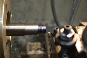 I use a threading tool to cut the threads for the brake.
