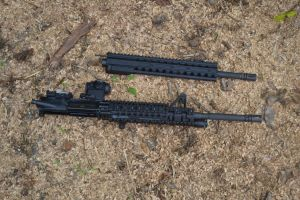 "For comparison purposes, the a standard 16"" upper is shown next to the DRD front end.  The DRD is 6"" shorter."