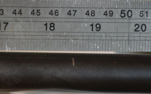 """The barrel is removed from a safe and empty gun. I like to cut my barrels a little on the long side to be careful.  I mark this one at 18.5""""."""