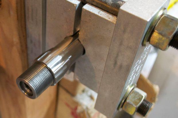 remage barrel in vise with barrel nut