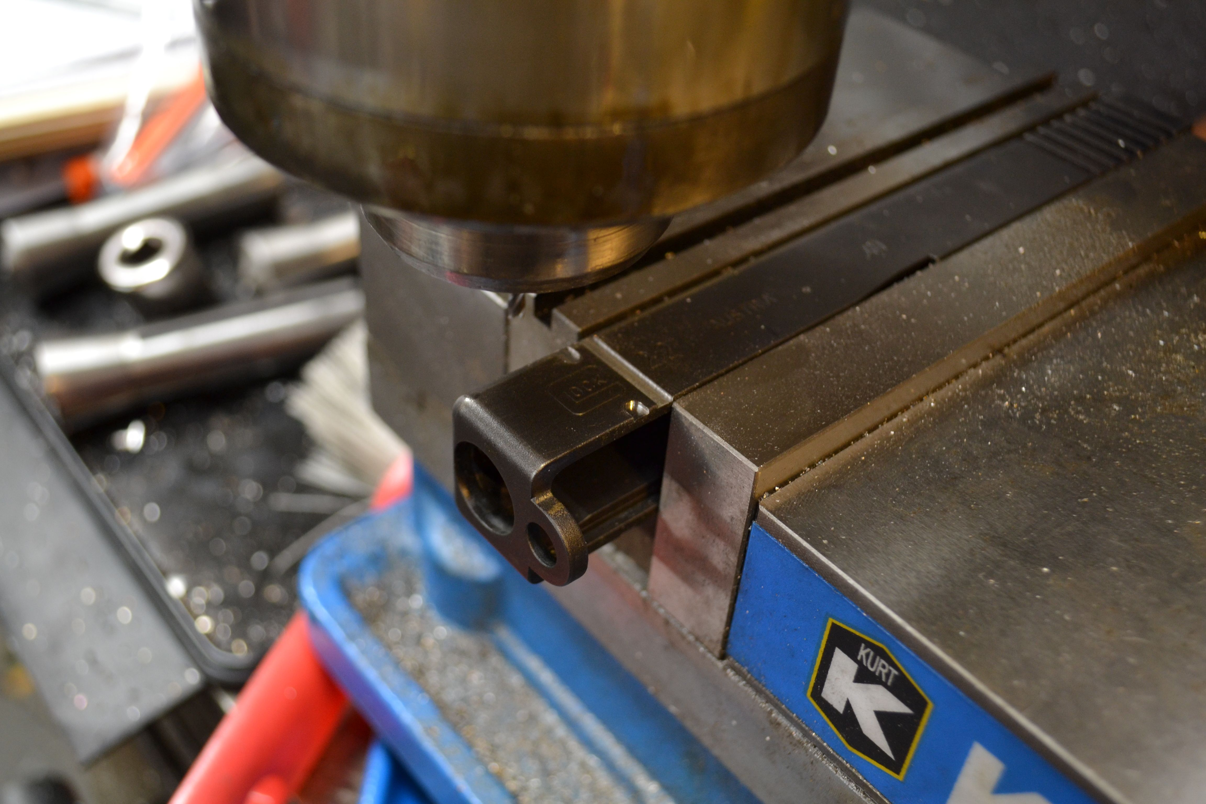 Machining front cocking serrations on a Glock slide