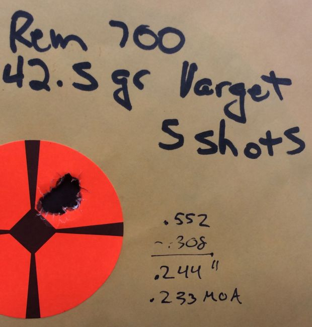 5 shots 100 yards 168 SMK custom 700 shilen bbl