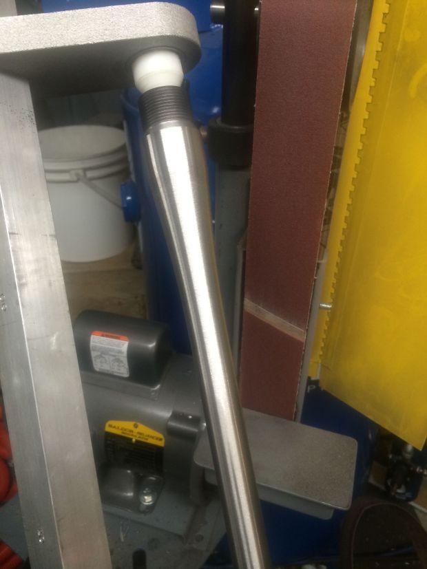 polishing barrel on belt grinder