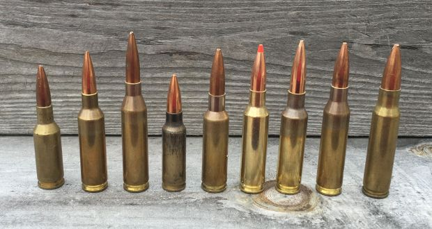 Left to right, 6mm Norma BR, 6x47 Lapua, 243 Winchester, 6.5 Grendel, 6.5x47 Lapua, 6.5 Creedmoor 120 A-MAX, 6.5 Creedmoor 142 SMK, 260 Remington, and 308 Winchester