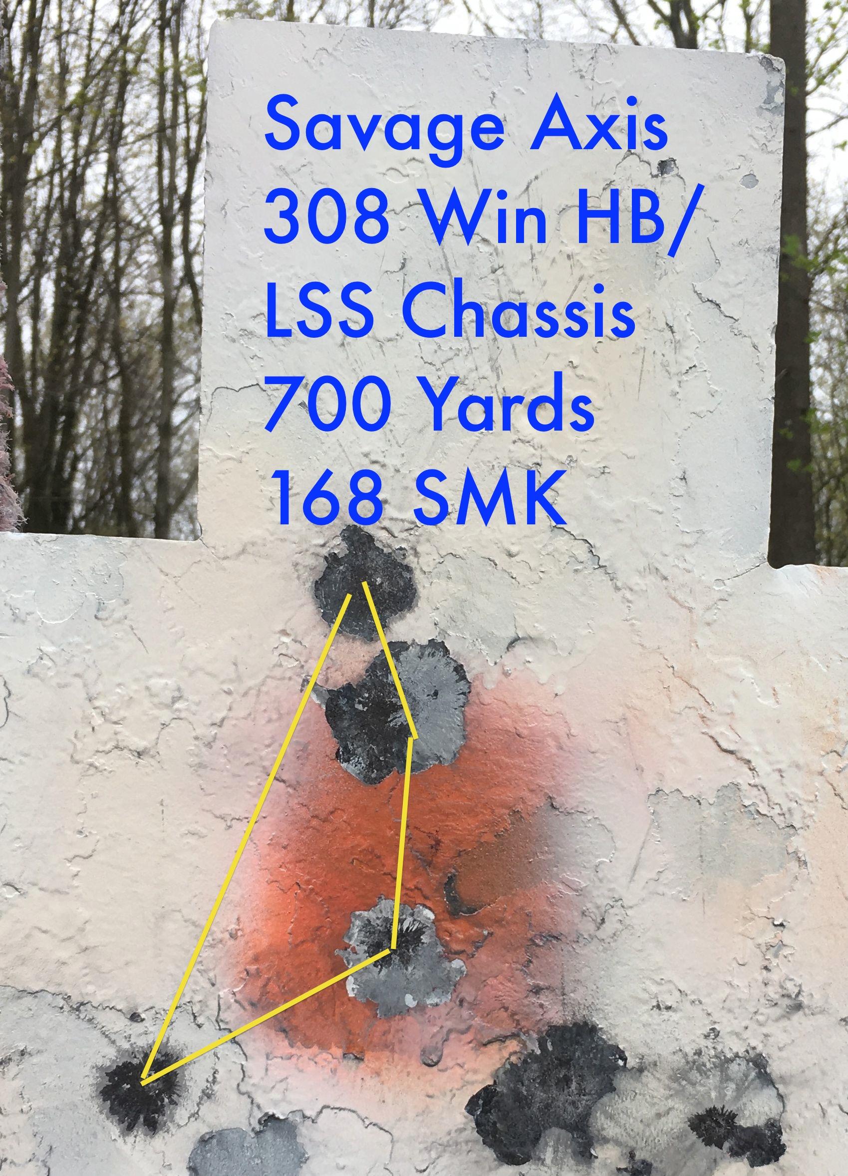 savage axis 308 HV at 700 yards 168 SMK