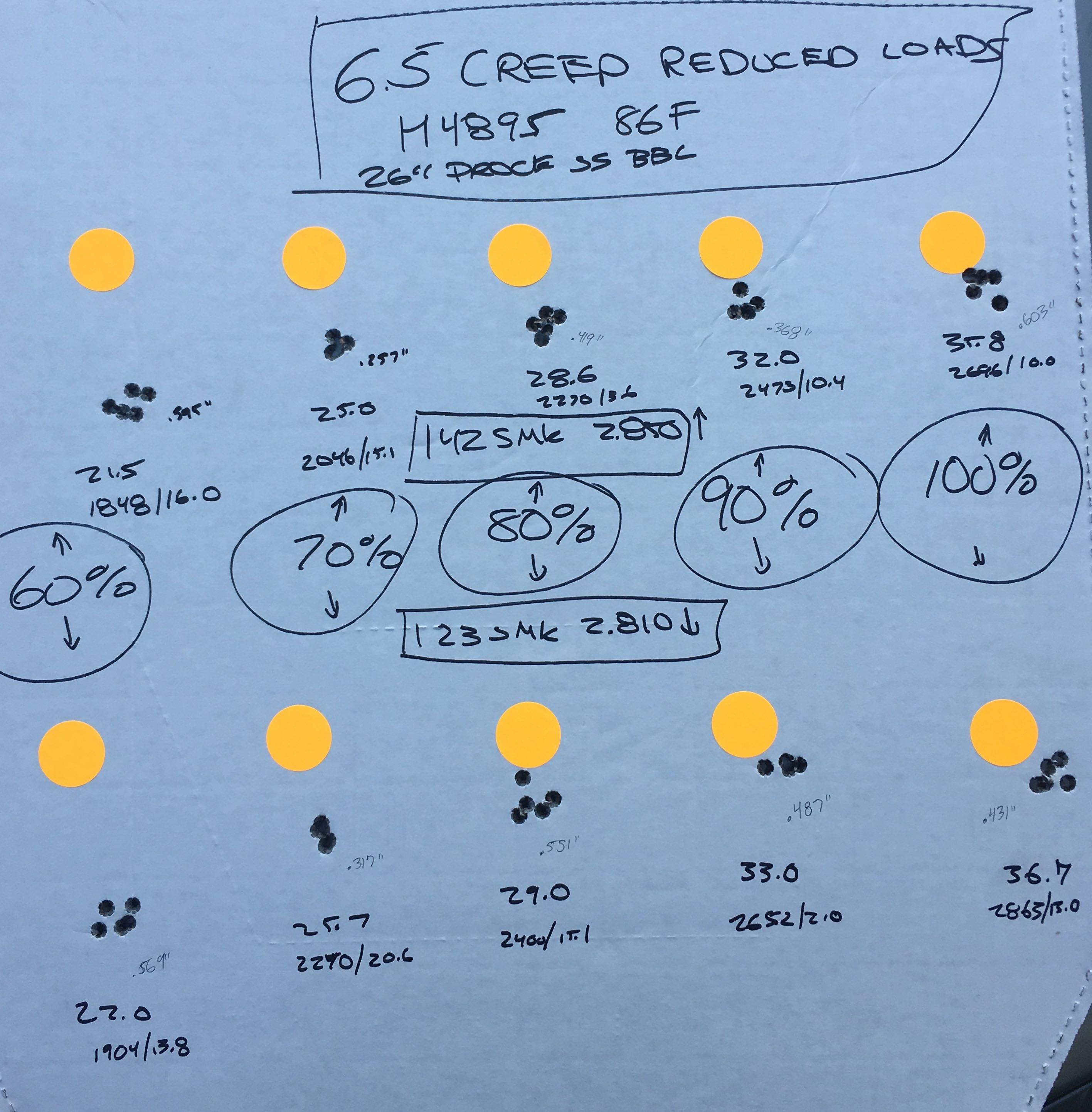 6 5 Creedmoor H4895 reduced loads: 123 SMK and 142 SMK