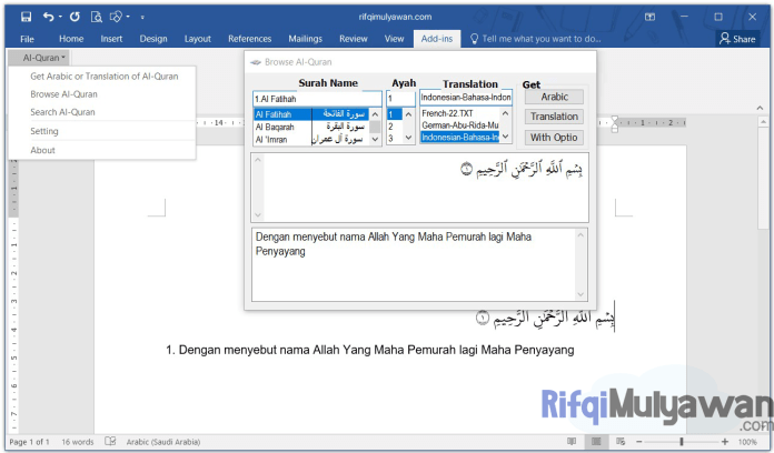 Gambar Screenshoot Penggunaan Dan Pemakaian Download Quran In Word Versi Terbaru Microsoft Office Windows 2020 2019 2016 2013 2010 2007 Plugin Full Gratis