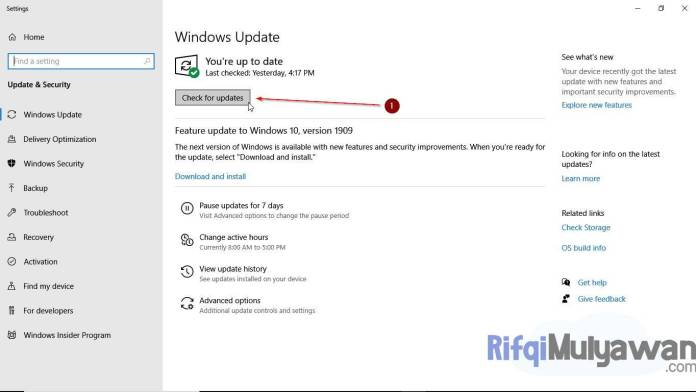 Gambar Screenshot Mengecek Microsoft Windows Update