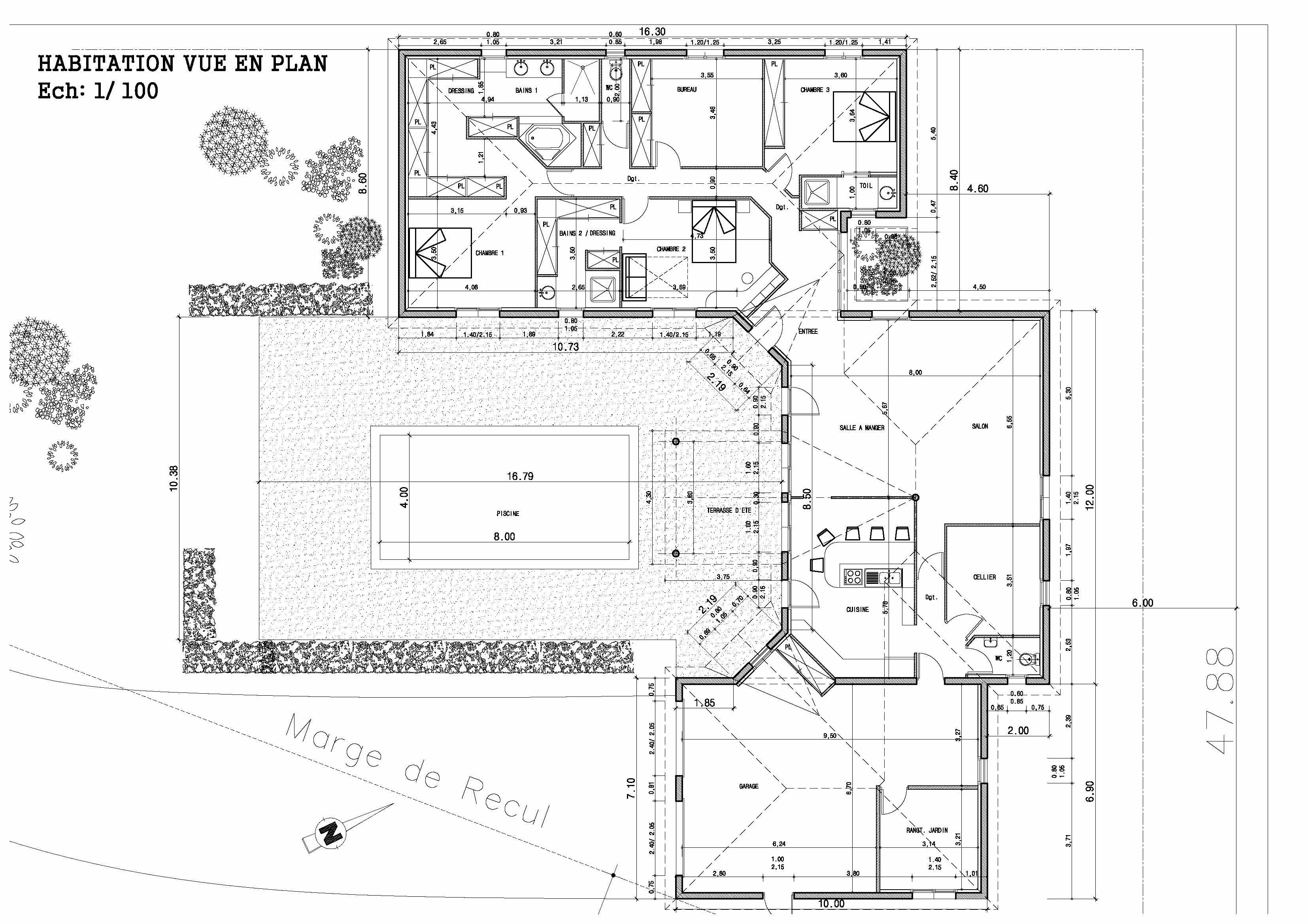 Maison individuelle st morillon aps st selve pl s plan maison bioclimatique semi contemporaine