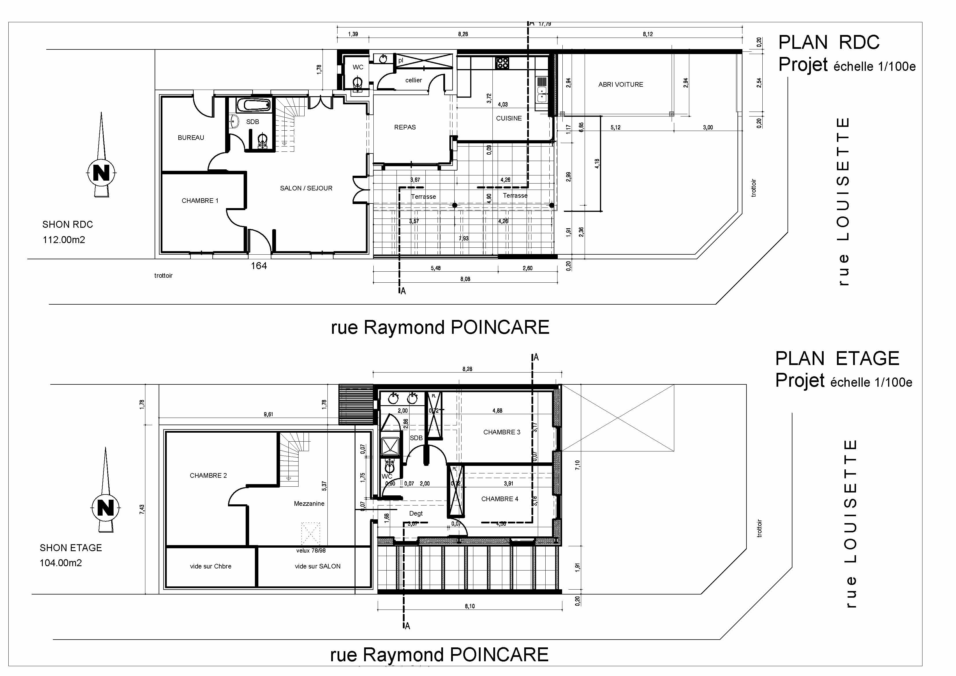 Surelevation Maison Individuelle Le Bouscat Plans Projet
