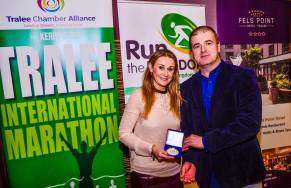 Anne Kelliher receives her award from me - see, I don't ALWAYS wear running gear!