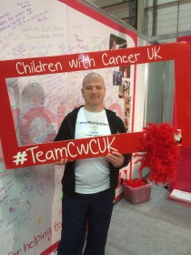At the Children with Cancer stand, for whom I was running
