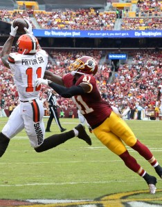 Oct landover md usa cleveland browns wide receiver terrelle pryor catches  touchdown pass as washington redskins safety will blackmon also roster rundown post draft depth chart page rh riggosrag